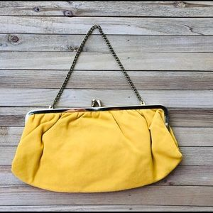 Vintage Yellow Purse with Matching Gloves